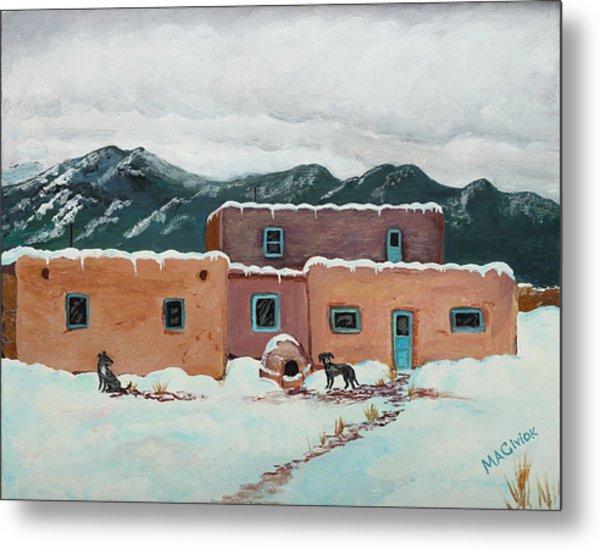 Waiting In Taos Metal Print by Mary Anne Civiok