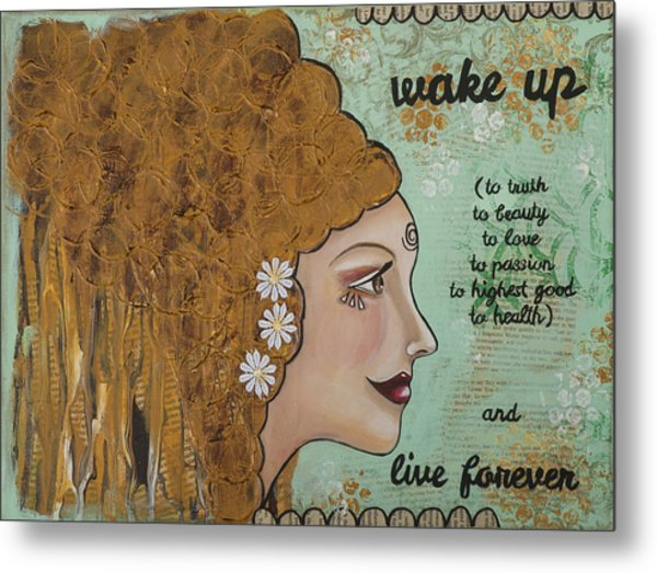 Wake Up Inspirational Mixed Media Folk Art Metal Print