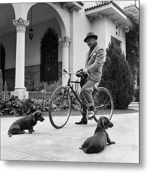 Waldemar Schroder On A Bicycle With Two Dogs Metal Print by Luis Lemus