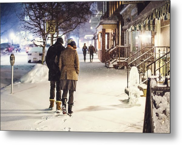 Walk In The Snow Metal Print
