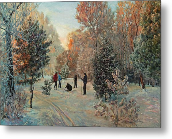 Walk To Skiing In The Winter Park Metal Print