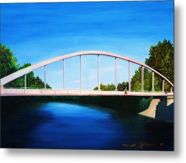 Walking On The Bridge  Metal Print
