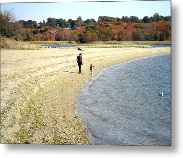 Walking The Beach In October Metal Print by Kate Gallagher