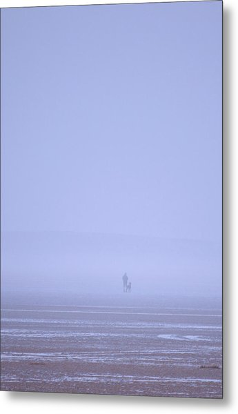 Walking The Dog In The Mist Metal Print