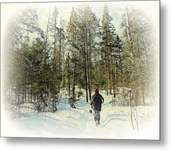 Walking The Dog On A Snowy Trail Metal Print by Dianne  Lacourciere