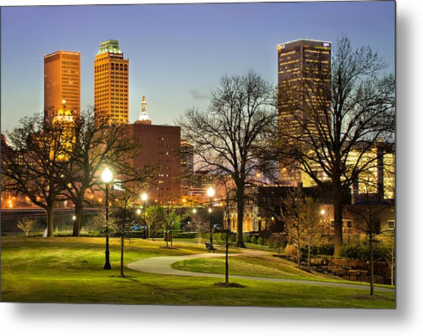 Walkway City View - Tulsa Oklahoma Metal Print