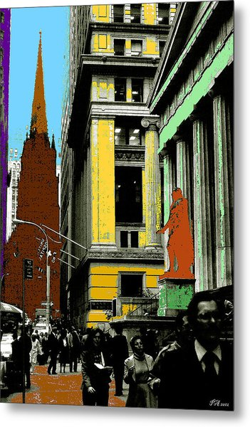 New York Pop Art In Blue Green Red Yellow Metal Print