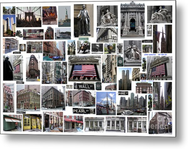 Wall Street Financial District Collage Metal Print