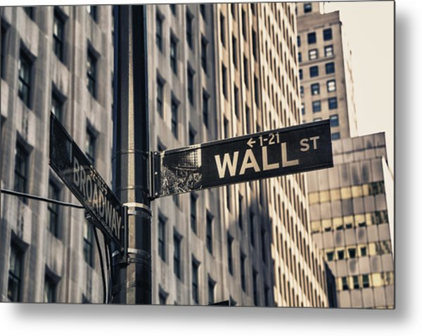 Wall Street Sign Metal Print