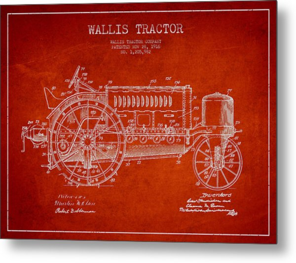 Wallis Tractor Patent Drawing From 1916 - Red Metal Print