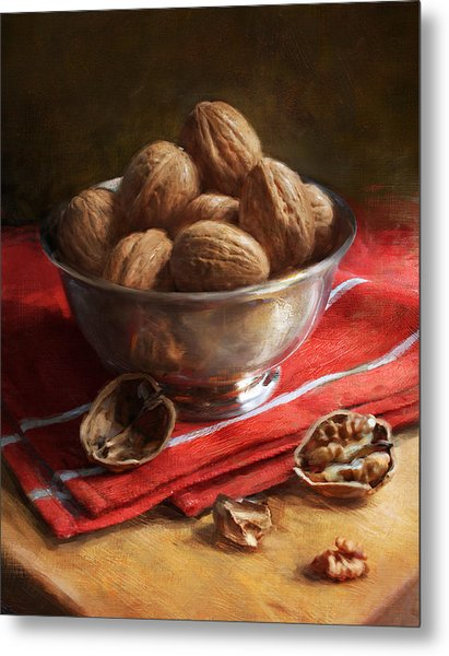 Walnuts On Red Metal Print