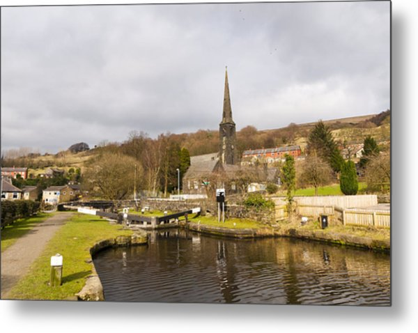 Walsden Church And Canal Lock Metal Print