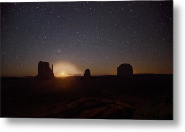 Waning Crescent Moonrise Monument Valley Metal Print