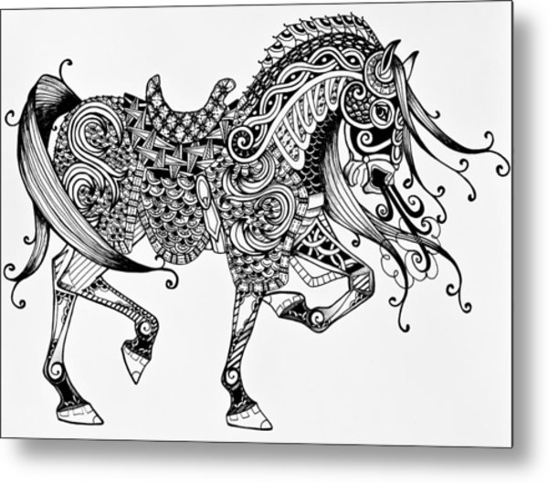 Metal Print featuring the drawing War Horse - Zentangle by Jani Freimann