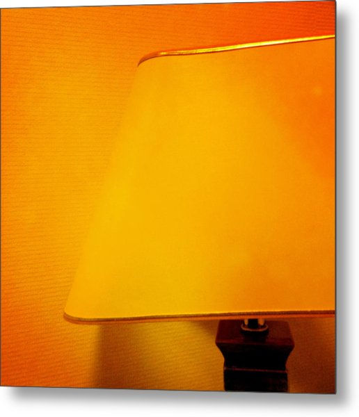Warm Inside - Lamp With Warm Orange Light Metal Print