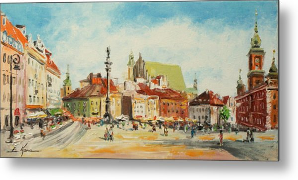 Warsaw- Castle Square Metal Print