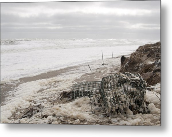 Wash A Shore From Storm Saturn  Metal Print by Eugene Bergeron