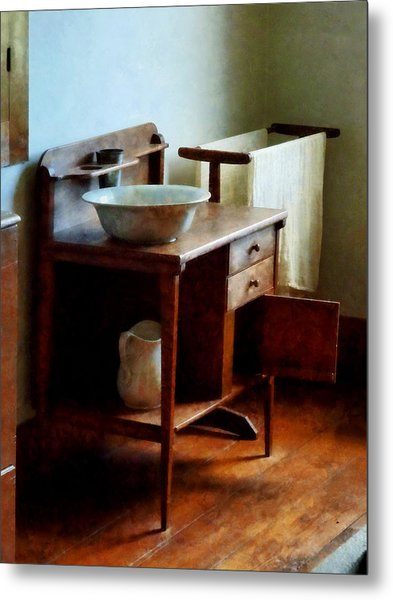 Wash Basin And Towel Metal Print