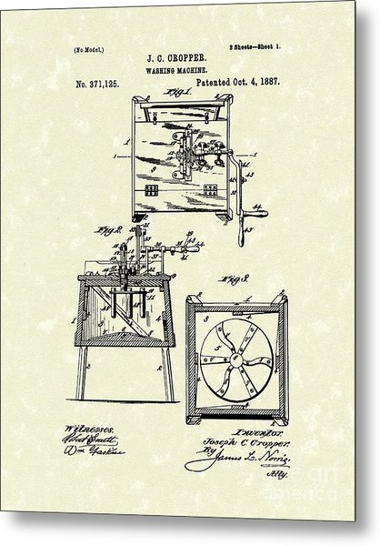 Washing Machine 1887 Patent Art Metal Print
