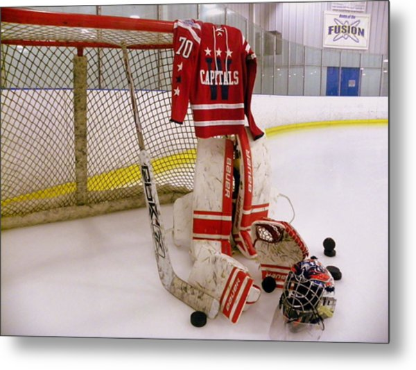 Metal Print featuring the photograph Washington Capitals Braden Holtby Winter Classic 2015 Jersey by Lisa Wooten