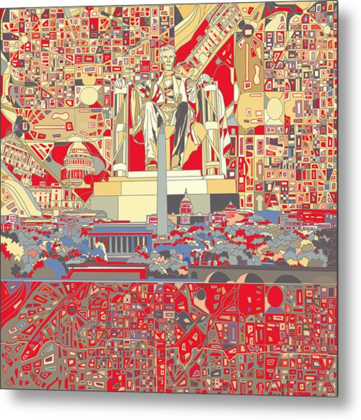 Washington Dc Skyline Abstract 6 Metal Print