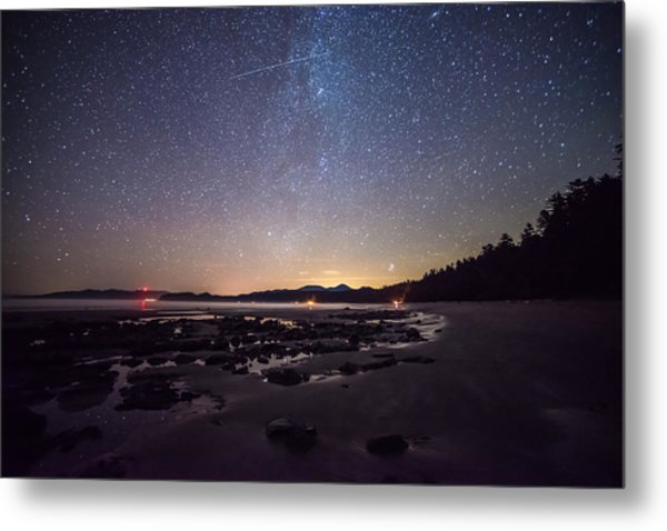Washington Olympic Night Sky Meteor Metal Print