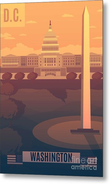 Washington Vector Landescape.washington Metal Print