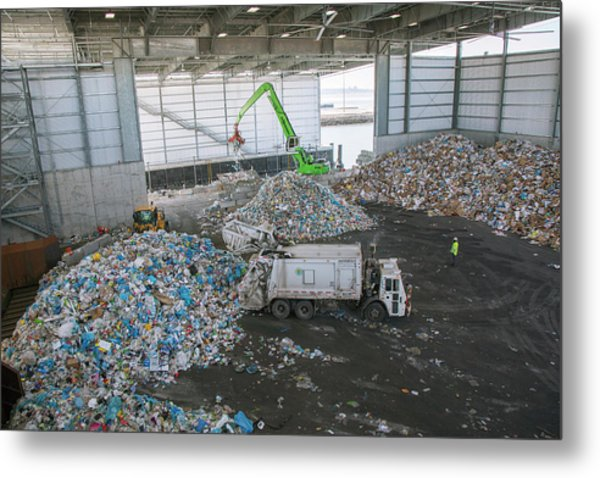 Waste Arriving At A Recycling Centre Metal Print