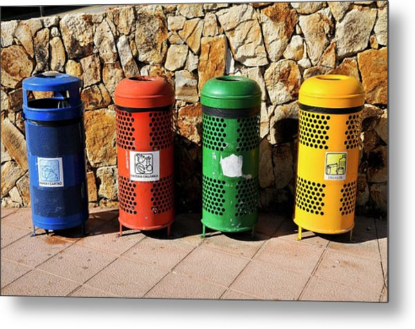 Waste Separation And Recycling Bins Metal Print