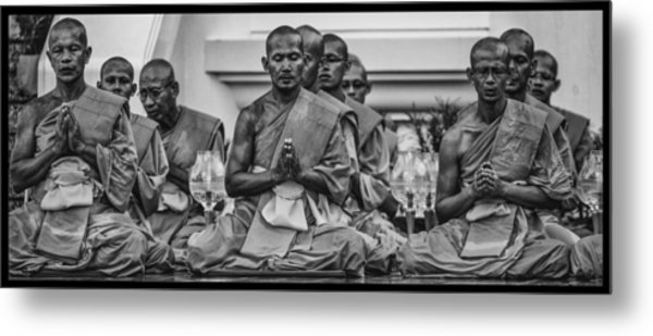 Wat Dhamma Monks Prayers Metal Print by David Longstreath