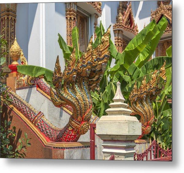 Wat Dokmai Phra Ubosot Stair Naga Dthb1783 Metal Print