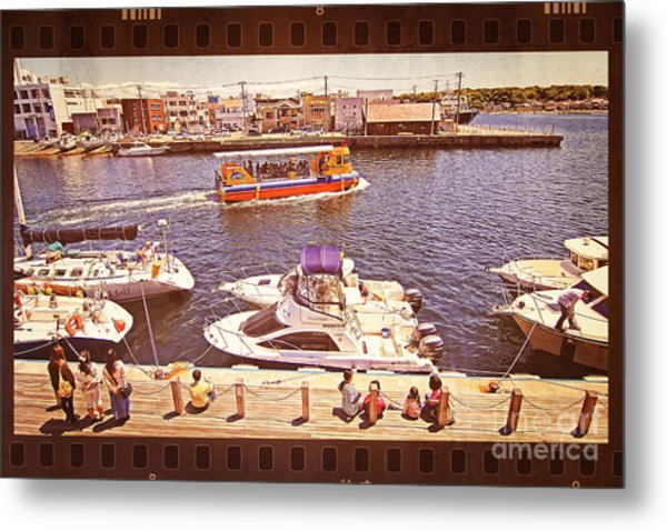Watching Boats On The Port Metal Print