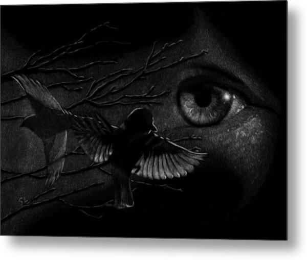 Watching Over Sparrows Metal Print