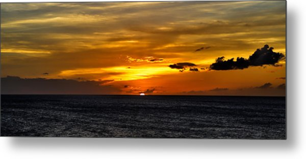 Watching The Sun Set In Barbados  Metal Print