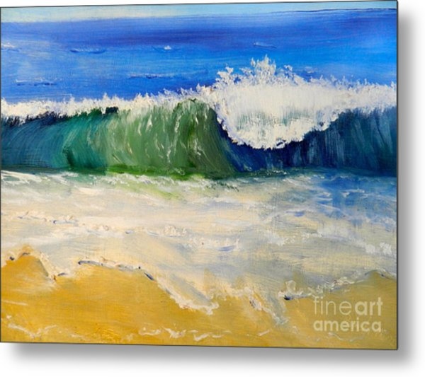 Watching The Wave As Come On The Beach Metal Print
