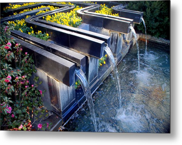 Water And Flowers At Ft Worth Botanic Gardens Metal Print