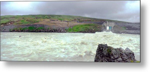 Water Dam For A Hydropower Plant Metal Print by Birgir Freyr Birgisson