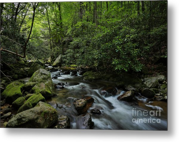 Water Falls And Rocks Metal Print by Mina Isaac