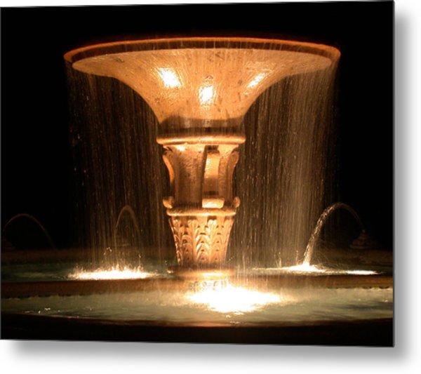Water Fountain At Night Metal Print
