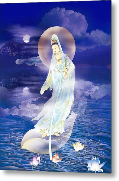 Water Moon Avalokitesvara  Metal Print
