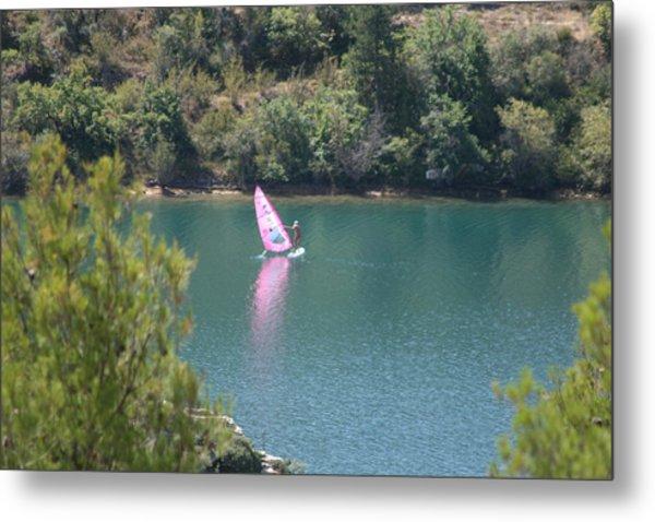 Pink Water Play Metal Print