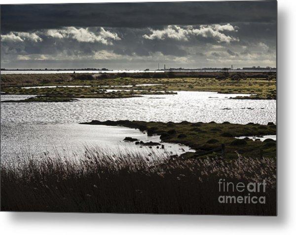 Water Reflection Storm Clouds At Farlington Marshes Wetlands Metal Print
