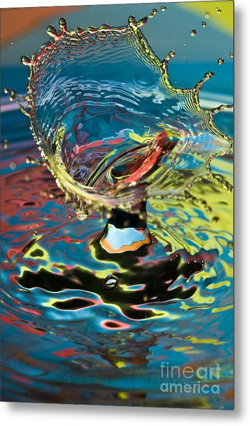 Water Splash Exploding Metal Print