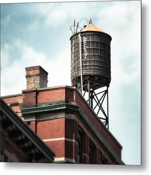 Metal Print featuring the photograph Water Tower In New York City - New York Water Tower 13 by Gary Heller