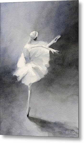 Watercolor Ballerina Painting Metal Print