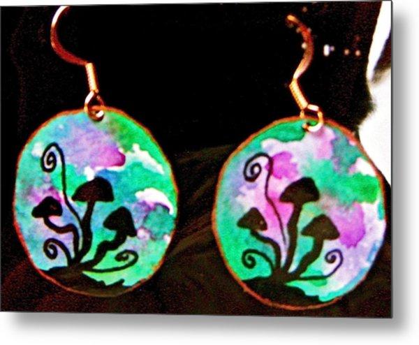 Watercolor Earrings Mushroom Trio Silhouette Metal Print