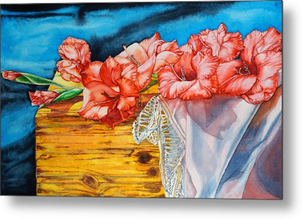 Metal Print featuring the painting Watercolor Exercise Gladiolas by Xavier Francois