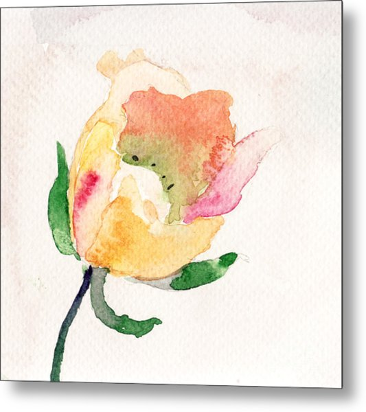 Watercolor Illustration With Beautiful Flower  Metal Print