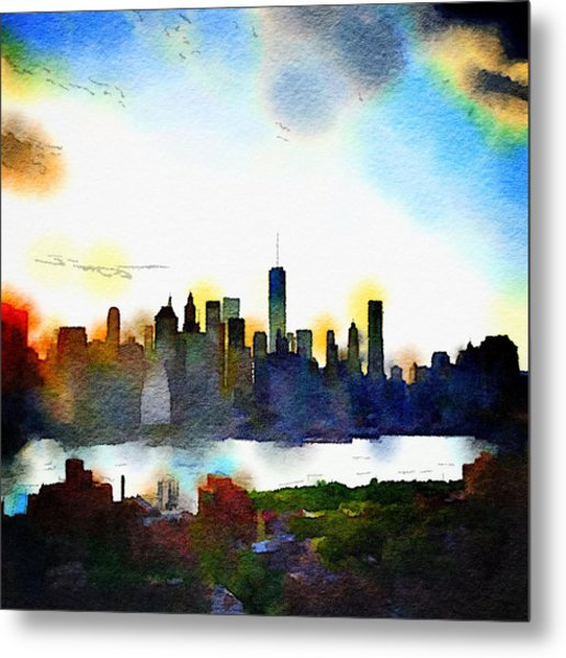 Watercolor Manhattan Metal Print