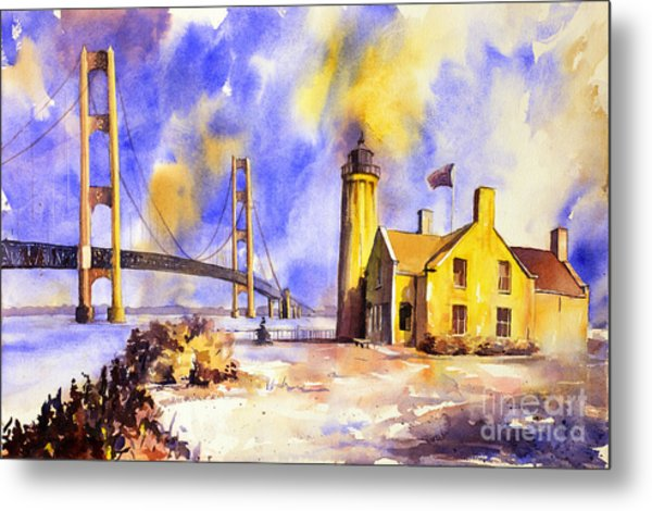 Watercolor Painting Of Ligthouse On Mackinaw Island- Michigan Metal Print